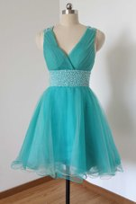 Aqua Blue A-line V-neck Sleeveless Tulle Knee Length Criss Cross Beading Prom Dresses