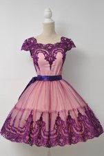 Purple Cap Sleeves Tulle Zipper Prom Dress for Prom and Party