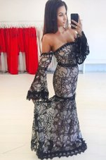 Mermaid Black Off The Shoulder Neckline Lace Evening Dress Long Sleeves Zipper