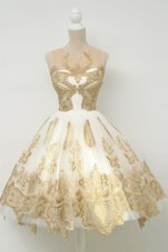 Scoop Champagne Sleeveless Lace and Appliques Knee Length Prom Party Dress