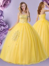Royal Blue Organza Lace Up Strapless Sleeveless Floor Length Quinceanera Dress Beading and Ruffles