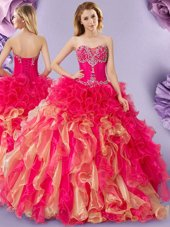 Excellent Rose Pink Tulle Lace Up Sweetheart Sleeveless Floor Length Sweet 16 Quinceanera Dress Beading and Pick Ups