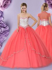 Hot Sale Floor Length Ball Gowns Sleeveless Watermelon Red Quinceanera Gowns Lace Up