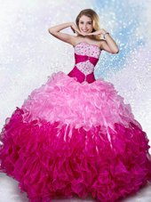 Popular Strapless Sleeveless Lace Up Ball Gown Prom Dress Multi-color Organza