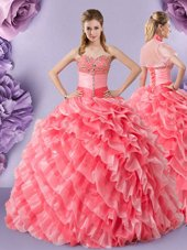 Chic Watermelon Red Organza Lace Up 15 Quinceanera Dress Sleeveless Floor Length Lace