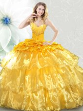 Elegant Sequins Ruffled Ball Gowns Sleeveless Gold 15th Birthday Dress Lace Up