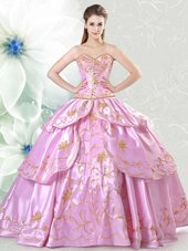 Lilac Sweetheart Neckline Embroidery Quince Ball Gowns Sleeveless Lace Up