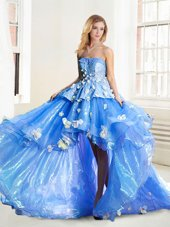 Blue Strapless Neckline Appliques Sweet 16 Quinceanera Dress Sleeveless Lace Up,Silhouette: A-lineNeckline: straplessSleeve Length: sleevelessHemline/Train: high lowBack Detail: lace upEmbellishment: appliquesFabric: organzaShown Color: blue(Color & Style representation may vary by monitor.)Occasion: promSeason: spring,summer,fall,winterFully Lined: YesBuilt-In Bra: Yes