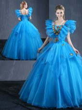 High Class Sleeveless Appliques and Ruffles Lace Up Vestidos de Quinceanera