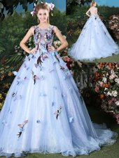 Simple Scoop Appliques Quince Ball Gowns Light Blue Lace Up Sleeveless Floor Length Brush Train