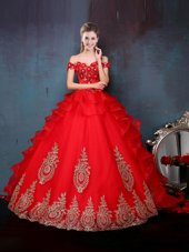 Off the Shoulder Sleeveless Tulle Floor Length Lace Up 15th Birthday Dress in Red for with Beading and Appliques and Ruffles