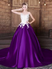 Scoop Lace and Appliques Sweet 16 Dresses Purple Lace Up Sleeveless Court Train