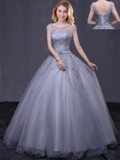 Light Blue Sleeveless Tulle Lace Up Sweet 16 Dress for Military Ball and Sweet 16 and Quinceanera
