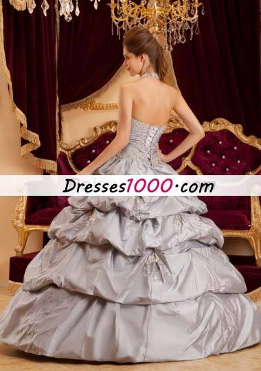 Halter Grey Layered Taffeta Sweet 15 Quinceanera Dress