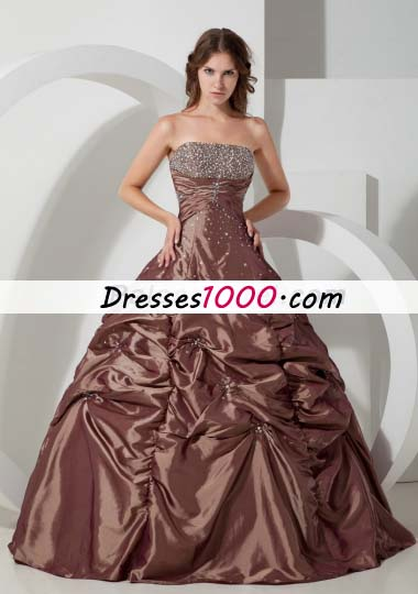Ball Gown Beading Quinceanera Dress in Brown