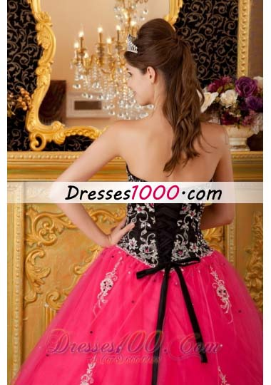 Hot Pink and Black Quinceanera Dress Embroidery Ball Gown