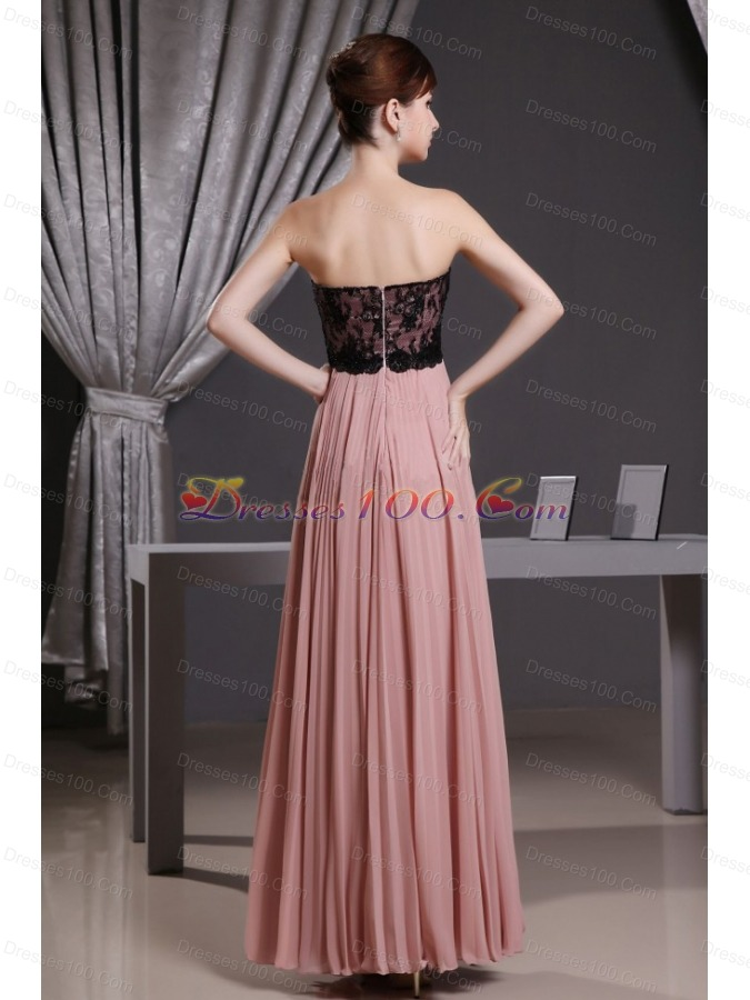 Lace and Pleat Pink Prom Dress Sweetheart Floor-length