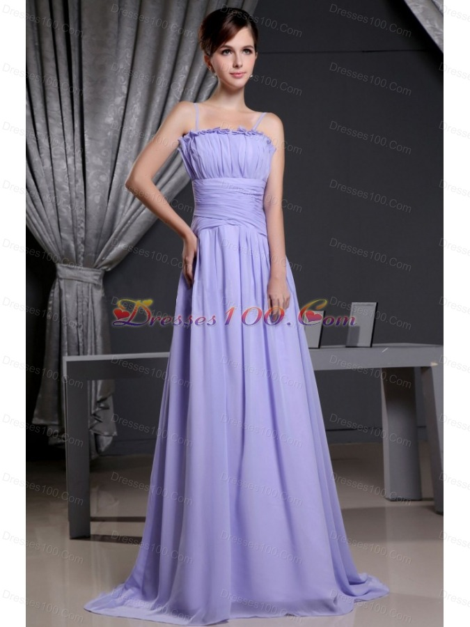 Straps Lilac Custom Made Prom Dress Chiffon