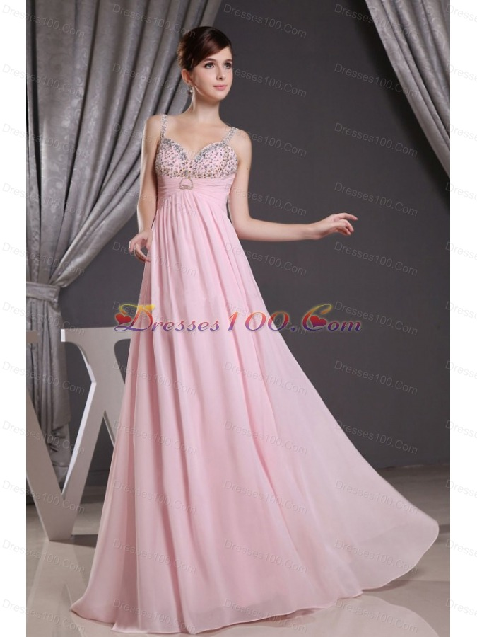 Baby Pink Straps Prom Dress with Beading Floor-length