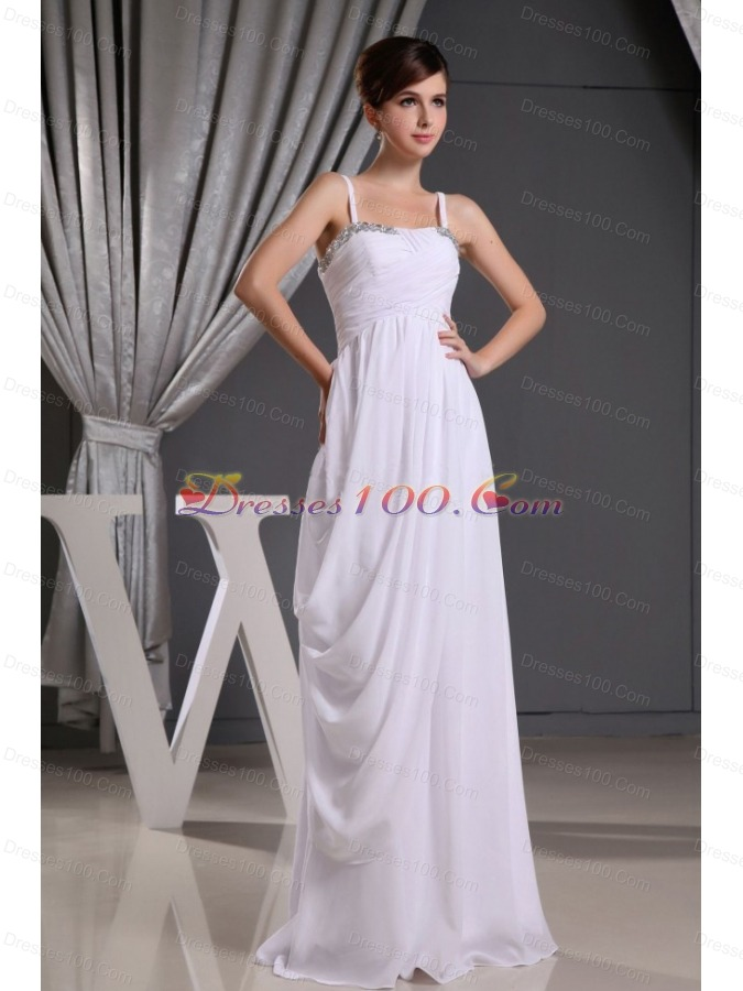 Straps Beading Ruch Wedding Dress Floor-length