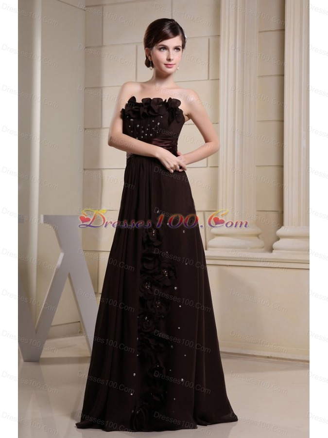 Strapless Brown Prom Dress With Hand Made Flowers