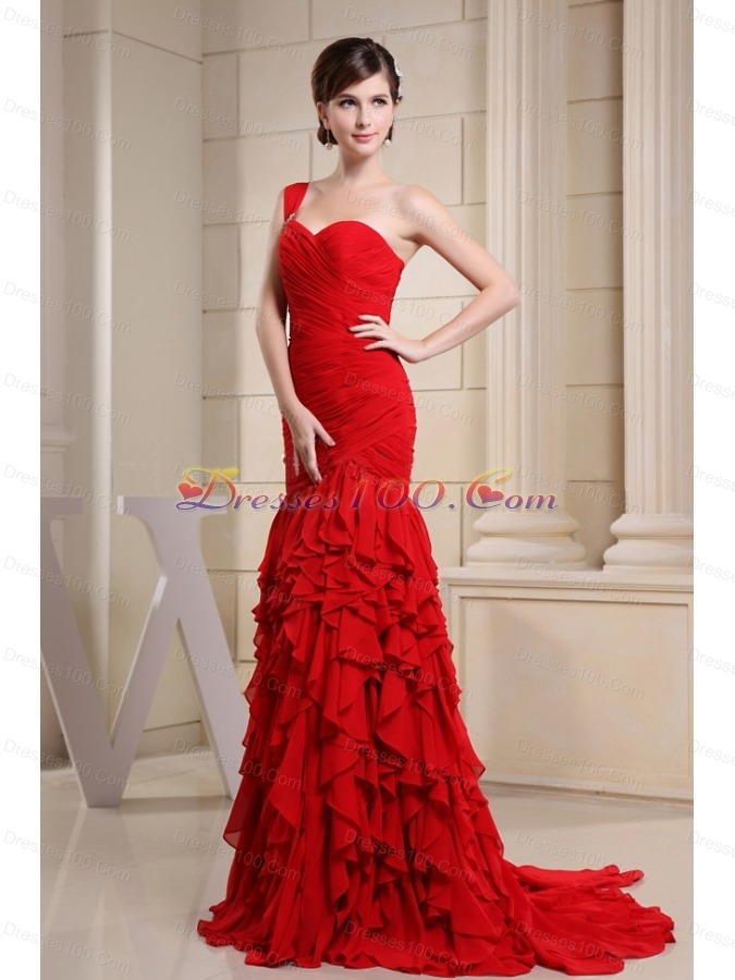 Red One Shoulder Ruched Prom Evening Dress with Ruffles