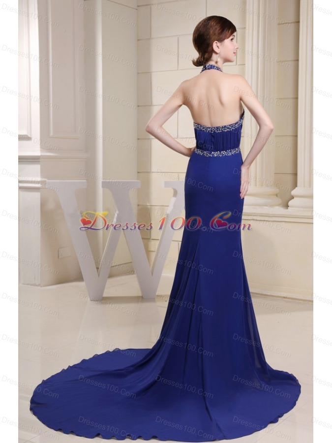 Mermaid Halter Blue Brush Prom Dress Beaded