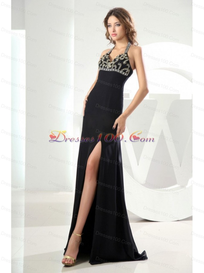 High Slit Black Halter Prom Dress with Beads