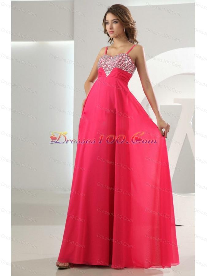 Beading Empire Chiffon Straps Prom Dress Hot Pink