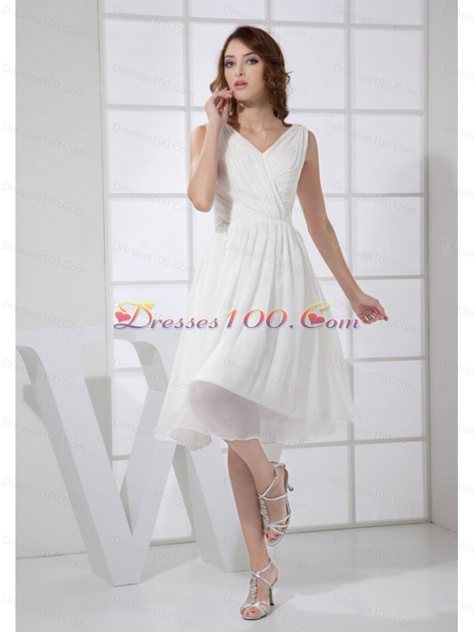 V-neck White 2013 Prom Dress Chiffon Empire