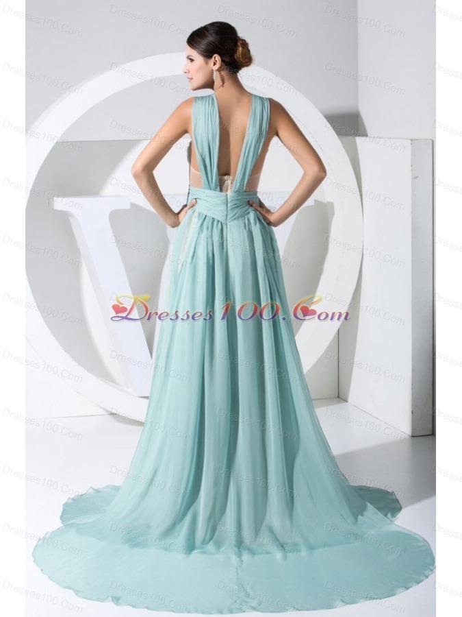 Straps Light Blue 2013 Prom Dress Watteau Backless