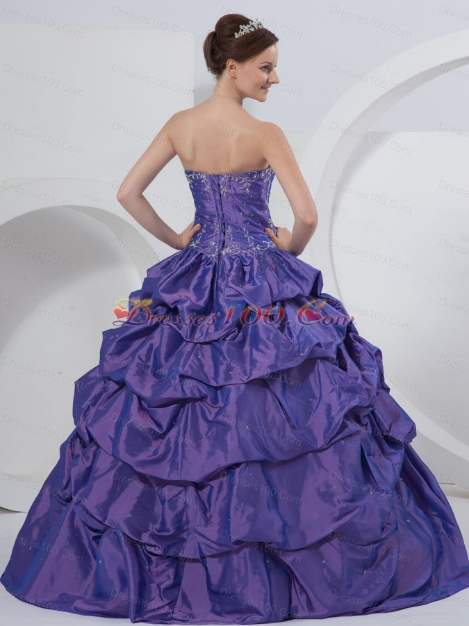 Purple Sweetheart Embroidery Taffeta Quinceanera Dress