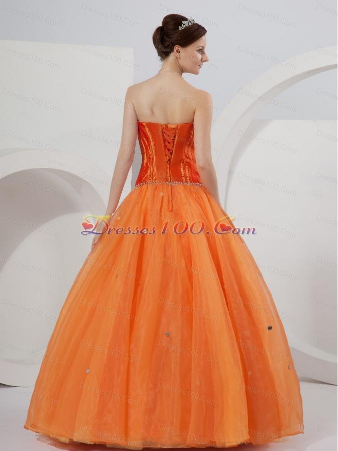 Orange Strapless A-line Organza Beading Quinceanera Dress