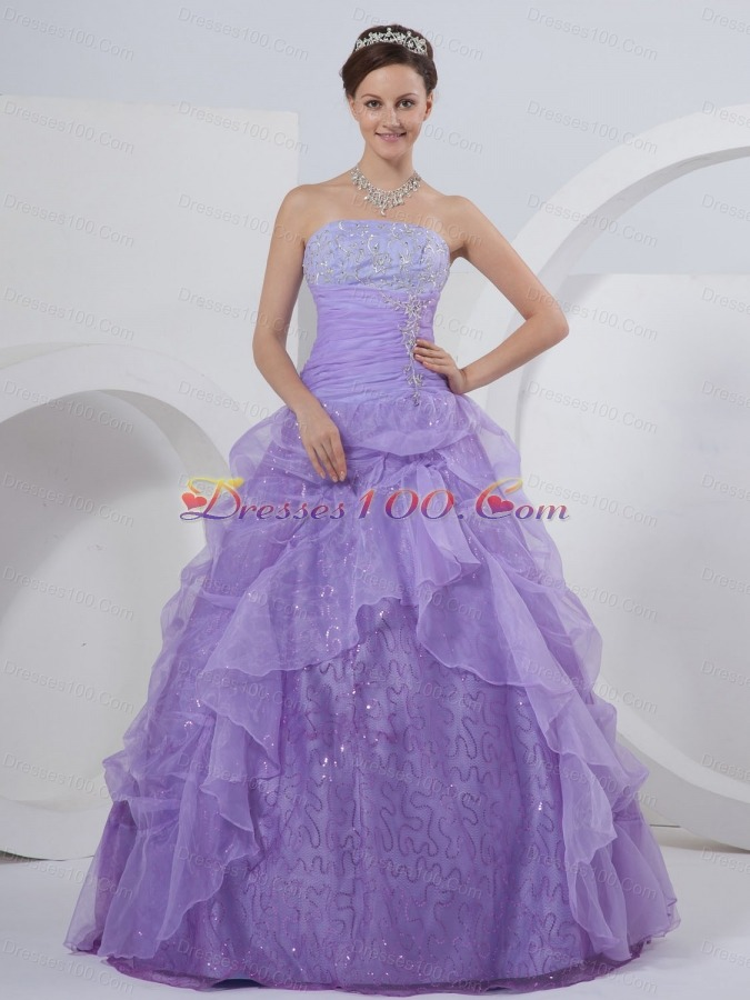 Lilac One Shoulder Tulle Quinceanera Dress On Sale