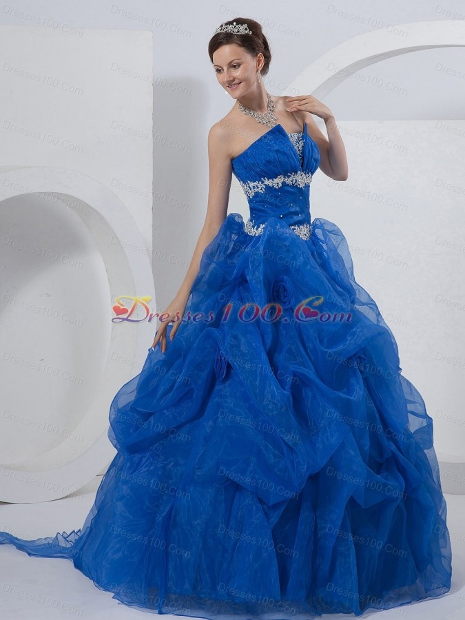 Royal Blue Ball Gown Strapless Organza Beading