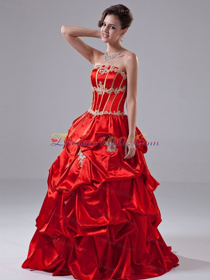 Red Appliques Taffeta Strapless Quinceanera Dress