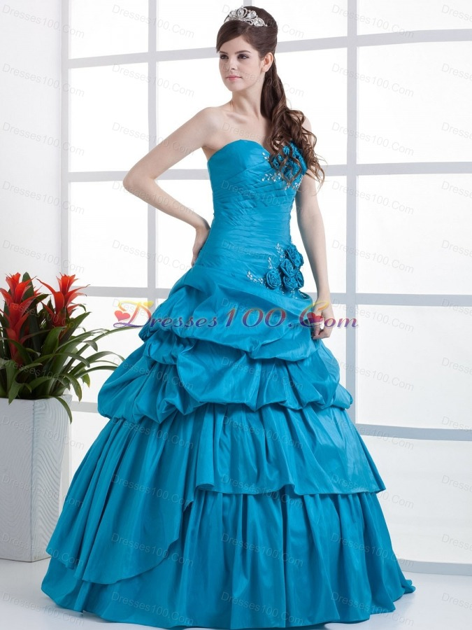 Ruched A-line Sweet 16 Dresses Pick-ups Hand Made Flower
