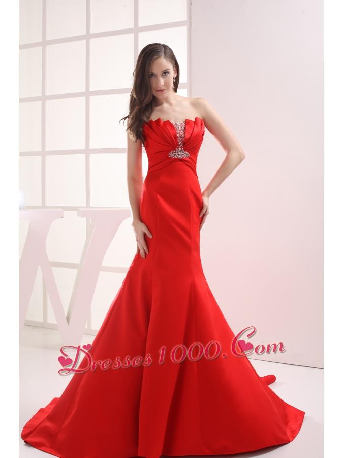red mermaid strapless beading ruching wedding dress prom