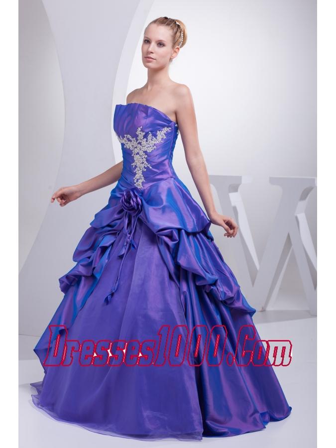 A-line Purple Pick-ups Appliques Hand Made Flower Quinceanera Dress