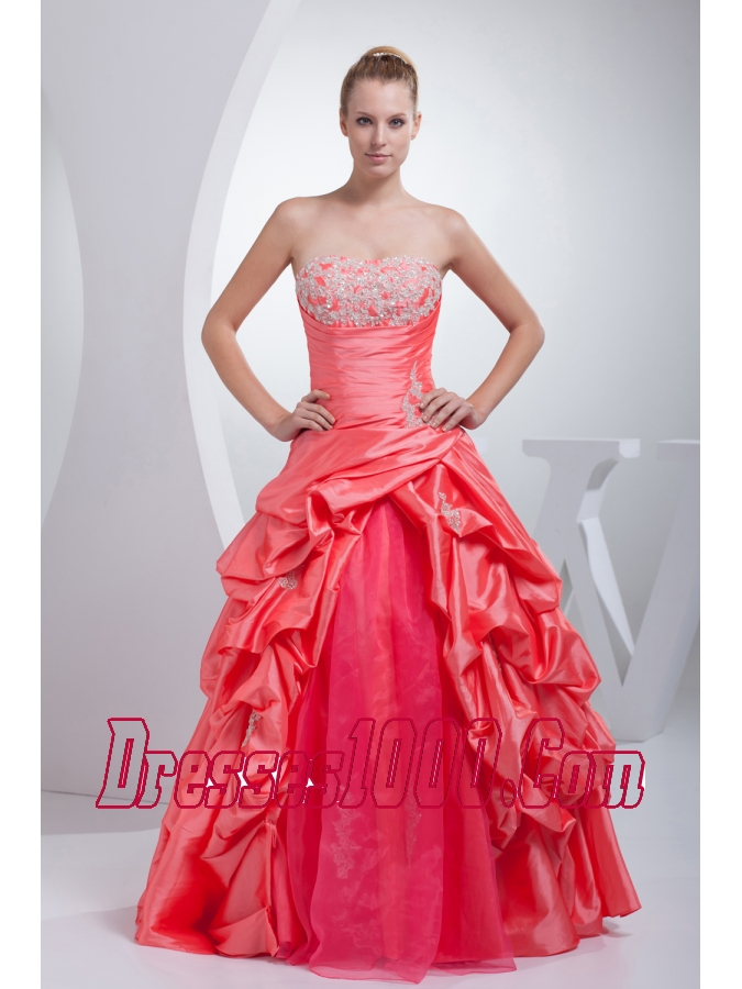 A-line Watermelon Red Pick-ups Appliques Quinceanera Dress