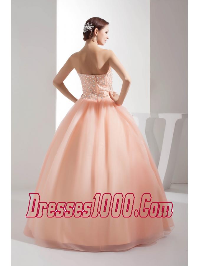 Beading Sweetheart Ball Gown Floor-length Watermelon Quinceanera Dress