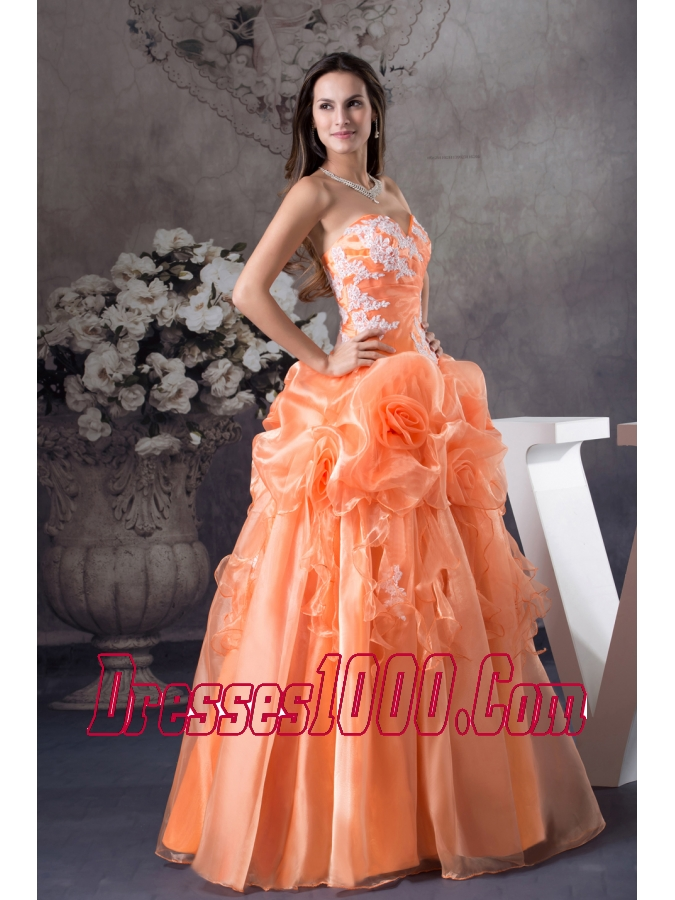 Hand Made Flowers With Appliques Sweetheart A-line Prom dress
