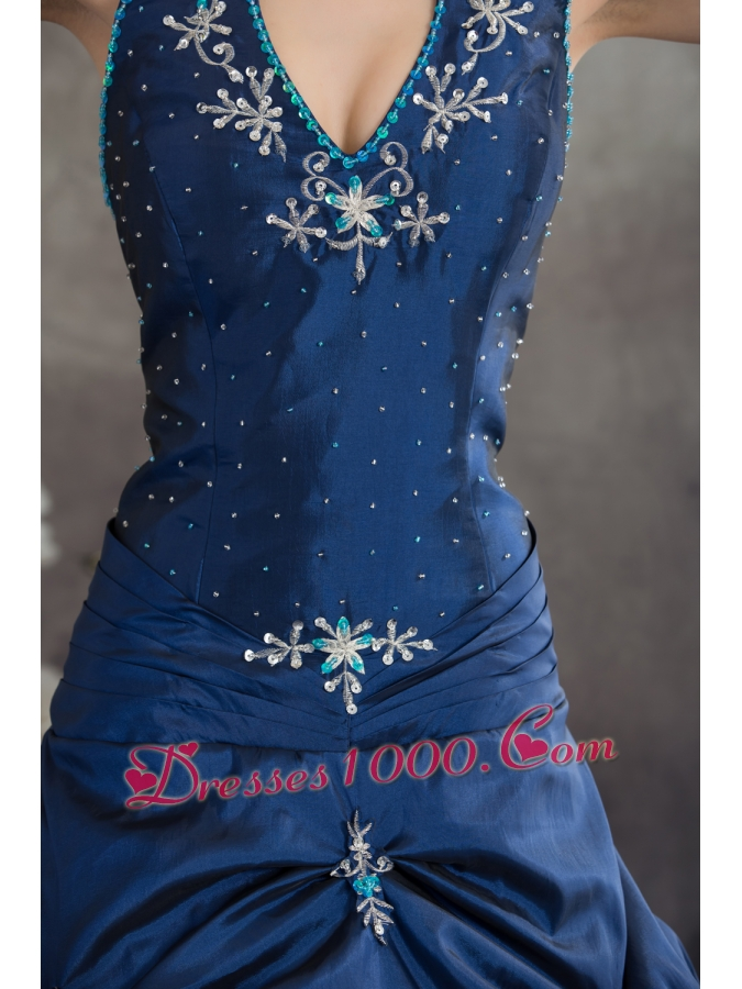 Navy Blue Halter Top Beading Appliques A-line Quinceanera Dress