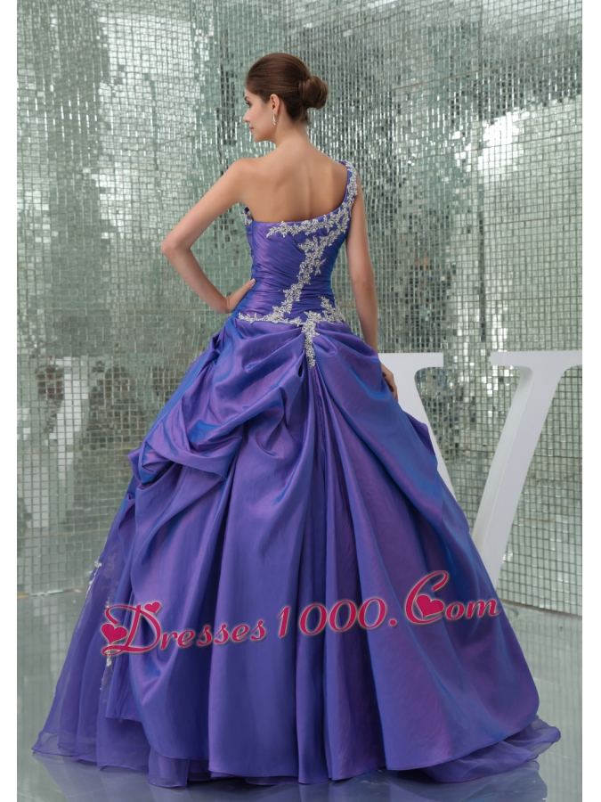 One Shoulder Appliques Purple Long A-line Quinceanera Dress