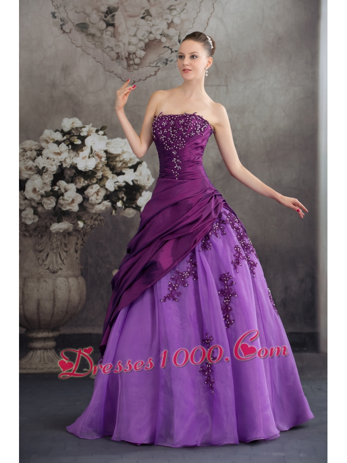 Purple Quanceanera Dress with Appliques Ball Gown Strapless
