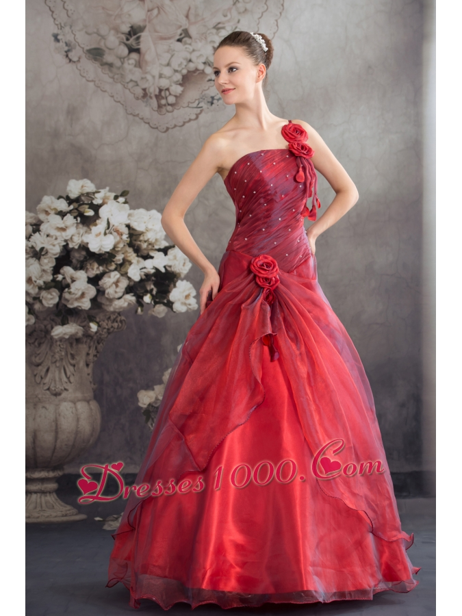 Red One Shoulder Hand Made Flowers A-line Prom Dress