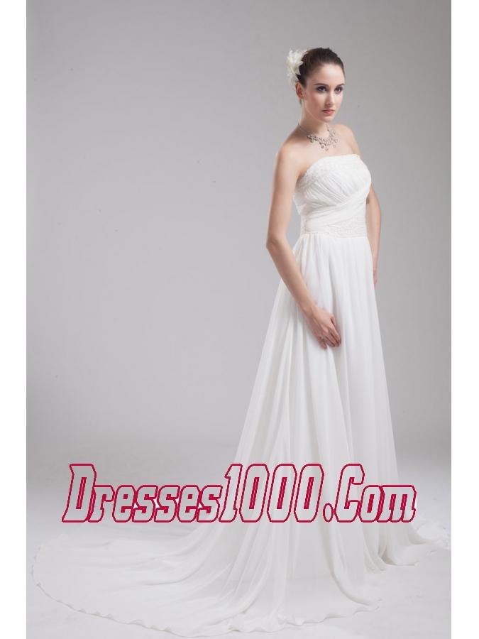 A line strapless ruching chiffon wedding dress perfect for A line wedding dress with ruching