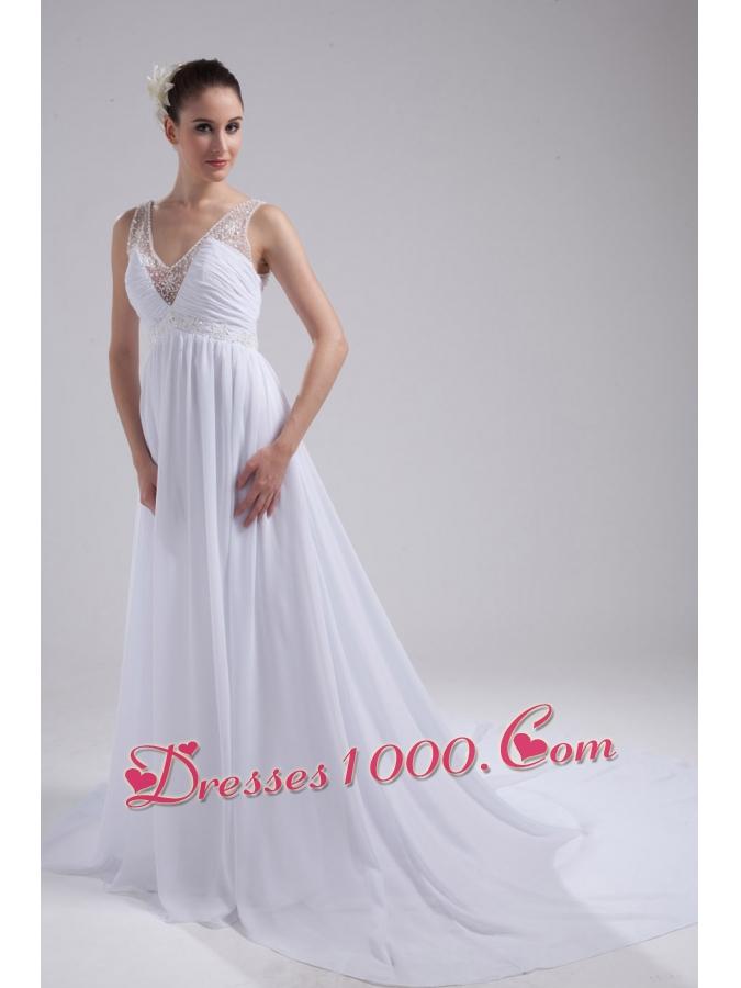 A line v neck ruching beading wedding dress perfect for A line wedding dress with ruching