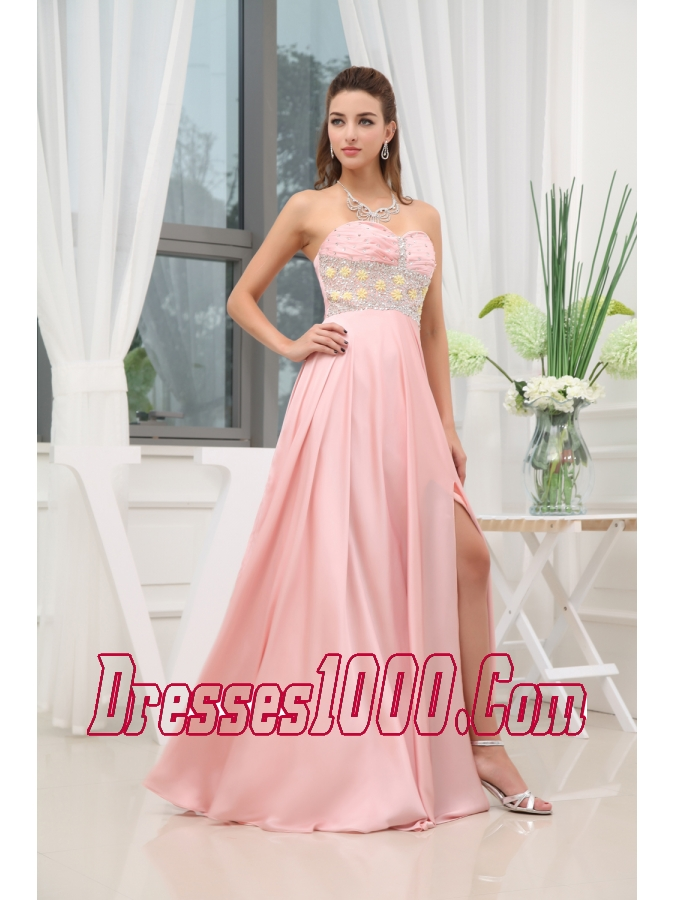 Baby Pink Beading High Slit Sweetheart Prom Dress |Perfect Prom Dresses