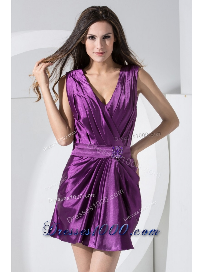 V-neck Mini-length Purple Prom Dresses Decorated with Beaded Sash